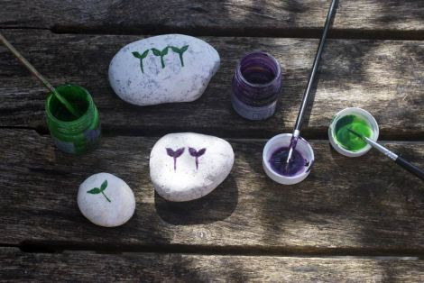 Beach pebbles painted with seedlings - I use these to remind me where I have scattered seeds